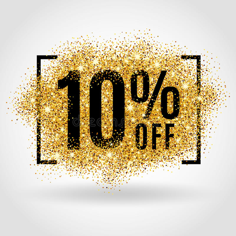 Gold sale 10% percent royalty free illustration