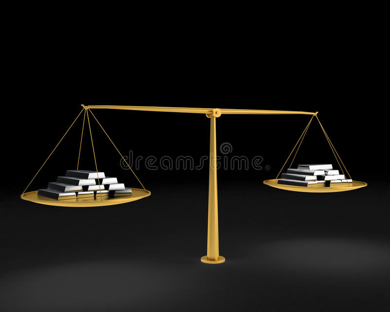 Gold scales with silver bars stock illustration