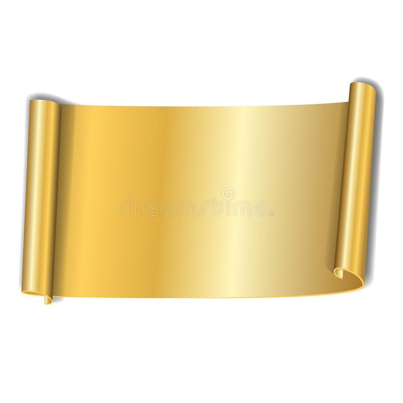Gold scroll isolated on white background. Golden paper roll banner 3D. Ribbon design for Christmas frame, New Year royalty free illustration