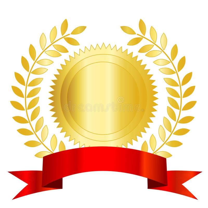 Gold seal red ribbon and laurel royalty free illustration