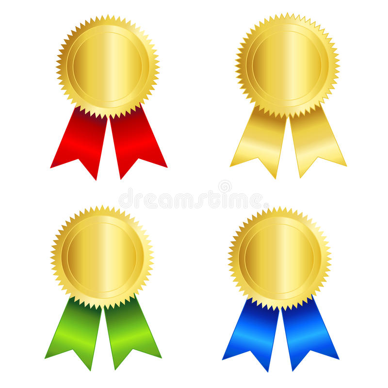 Download Gold seal with ribbon stock vector. Image of badges, gold - 16718565