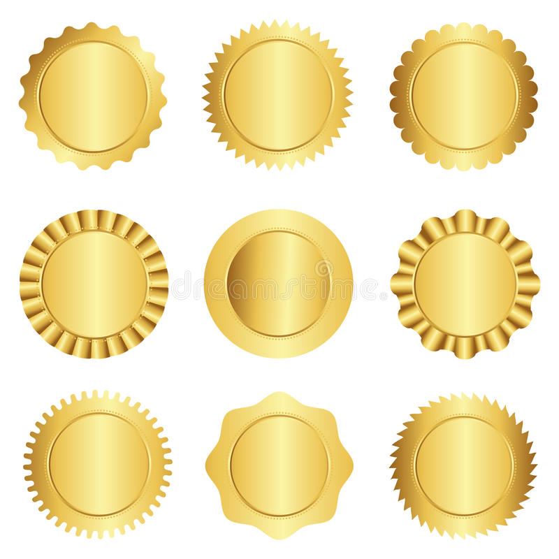 Gold seal / stamp collection royalty free illustration