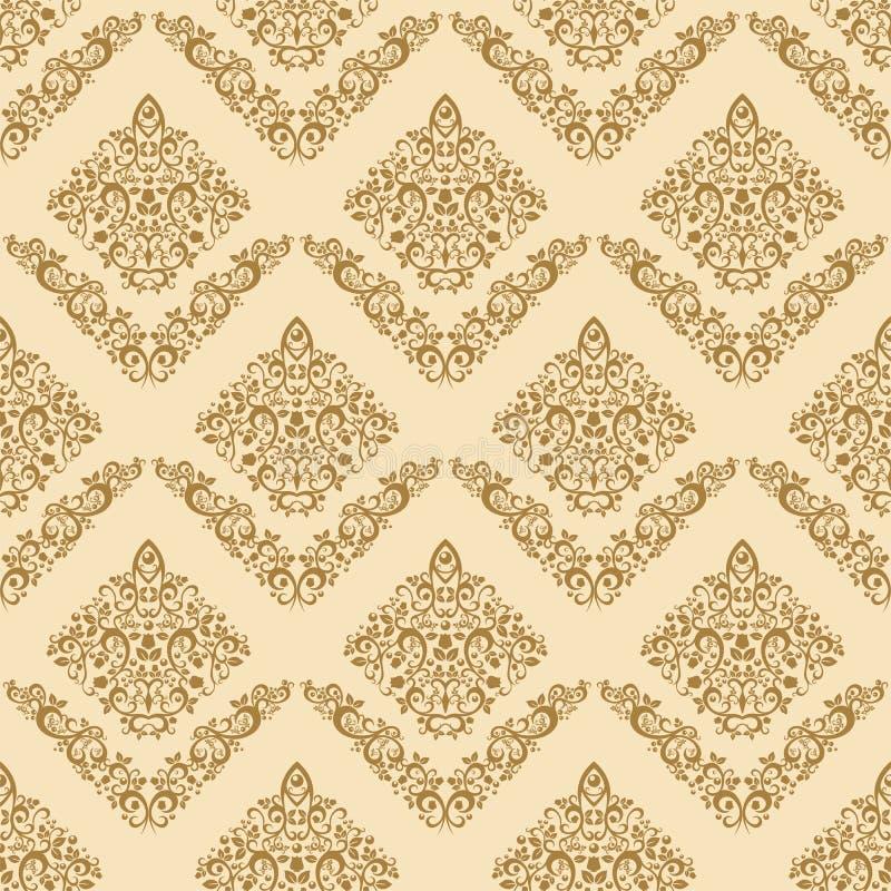 Gold Seamless Floral Elegant Wallpaper Stock Vector