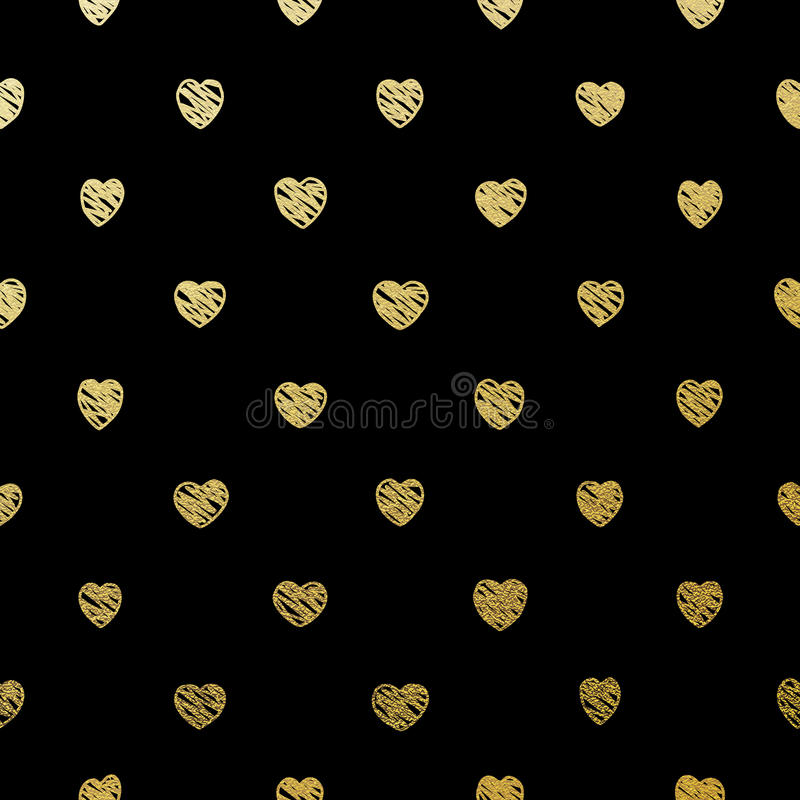 Gold seamless hearts on black. EPS 10. Luxury Gold hand draw seamless hearts pattern on black. EPS 10 vector file included vector illustration