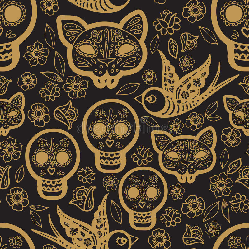Gold seamless pattern Day of the Dead vector illustration