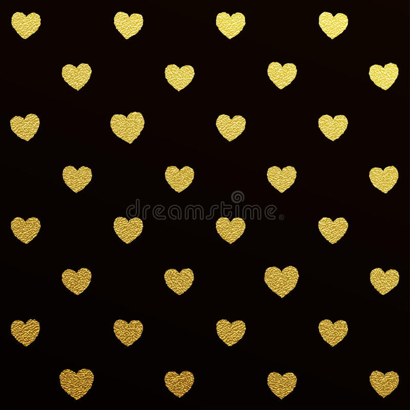 Gold seamless pattern of hearts on black background royalty free illustration