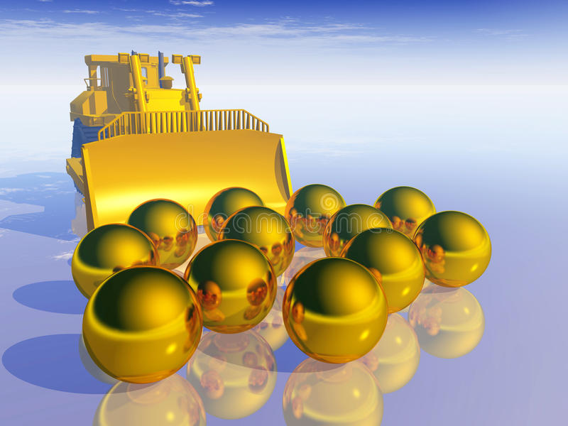 Gold Searchers. Computer generated 3D illustration with industrial equipment for gold searchers and gold balls stock illustration