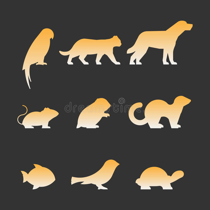 Gold set of figures of pets. Black silhouettes pets isolated on white. Silhouettes parrot, cat, dog, mouse, hamster, ferret, fish, canary and turtle vector illustration