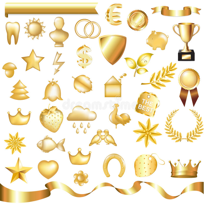 Free Gold Set. Vector Stock Photography - 17888632