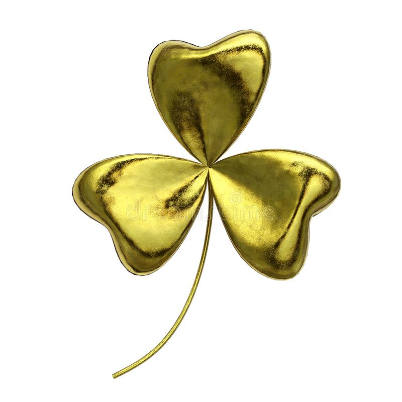 Gold shamrock on isolated white background. Object and Nature concept. Saint Patrick day theme. 3D illustration rendering. royalty free stock photos