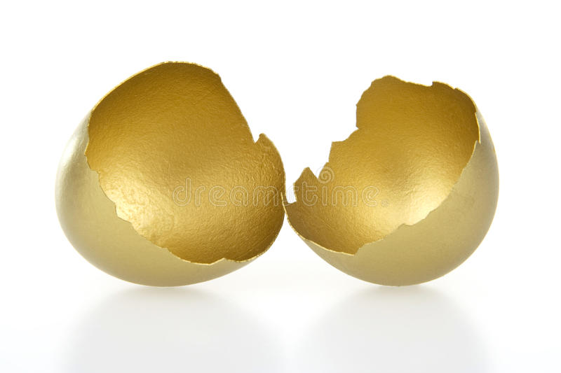 Gold shell of egg royalty free stock images