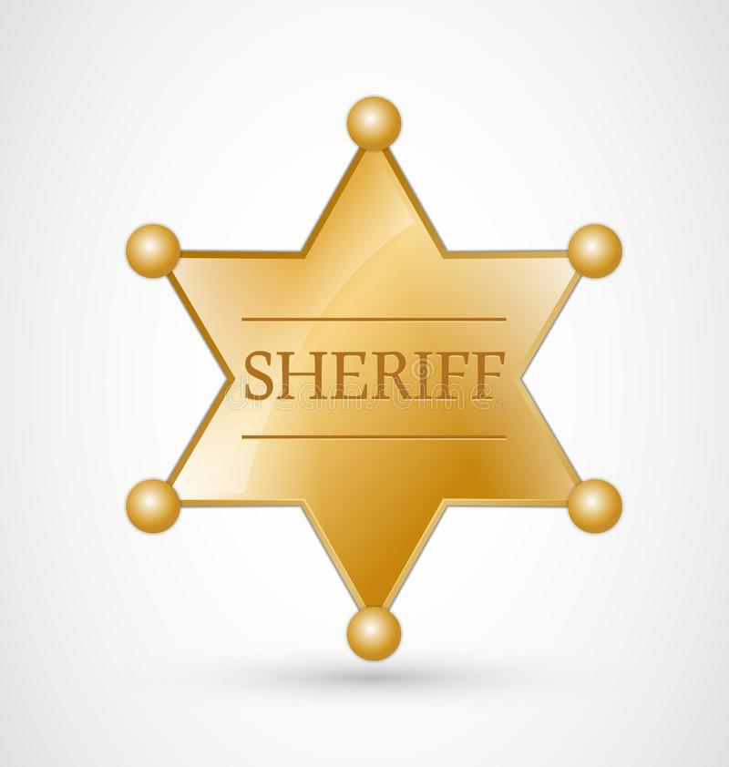 Gold Sheriff Badge. Gold Sheriff Star Badge with shadow royalty free illustration