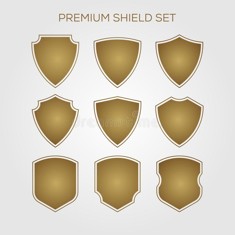 Set Of Monochrome Labels With Luxury Design: Gold Shield Set Stock Vector. Illustration Of Leaves, Coat