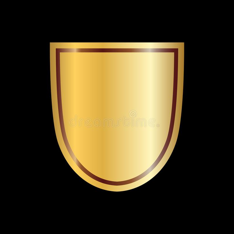 Gold shield shape icon. 3D golden emblem sign isolated on black background. Symbol of security, power, protection. Badge stock illustration