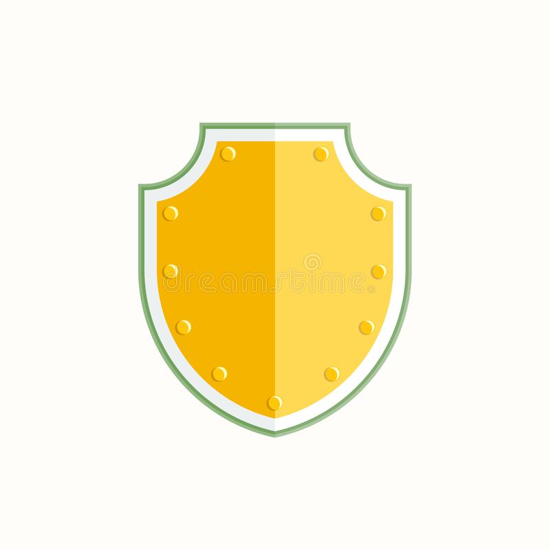 Gold shield icon on white background. Vector illustration stock illustration