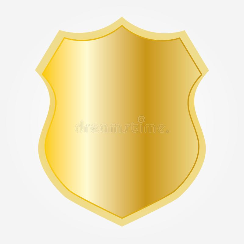 Gold shield shape icon stock illustration