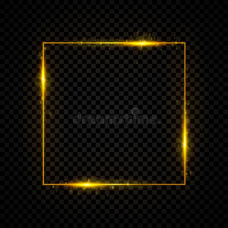 Gold shining square banner. Golden, sparkle, glowing neon light effect. Vector illustration. royalty free illustration