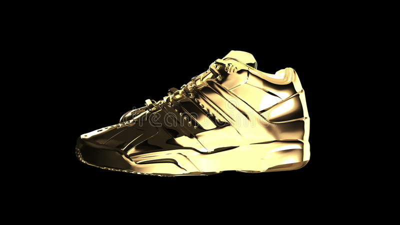 Gold Shiny Athletic Sneakers Stock