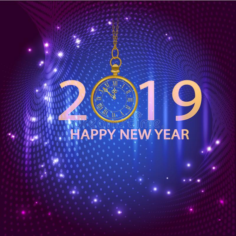 Gold shiny bokeh New Year 2019 card with clock and lights. Vector background. royalty free illustration
