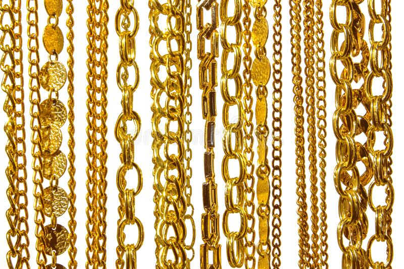 Gold shiny chains on white background isolated stock photos