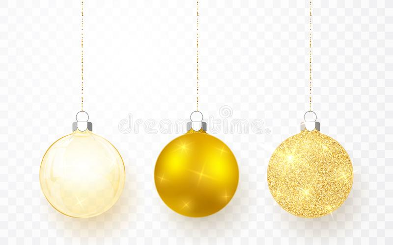 Gold shiny glitter glowing and transparent Christmas balls. Xmas glass ball on transparent background. Holiday decoration template. Vector illustration vector illustration