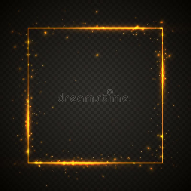 Gold shiny glitter glowing vintage frame with lights effects. Shining square banner on black transparent background. Vector. Illustration royalty free illustration