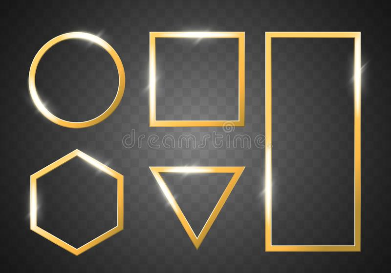 Gold shiny glowing frames set isolated on transparent background. Vector borders for creatice design, advertising, sales vector illustration