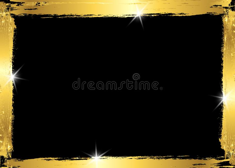 Gold shiny glowing vintage frame with golden brush strokes isolated or black background. Gold leaf luxury realistic rectangle vector illustration
