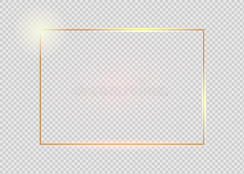 Gold shiny glowing vintage frame with shadows isolated on transparent background. Golden luxury realistic rectangle stock illustration