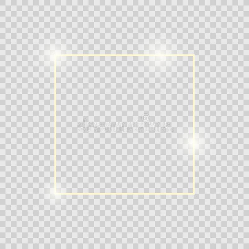Gold shiny glowing vintage frame with shadows isolated on transparent background. Golden luxury realistic square border. Vector vector illustration