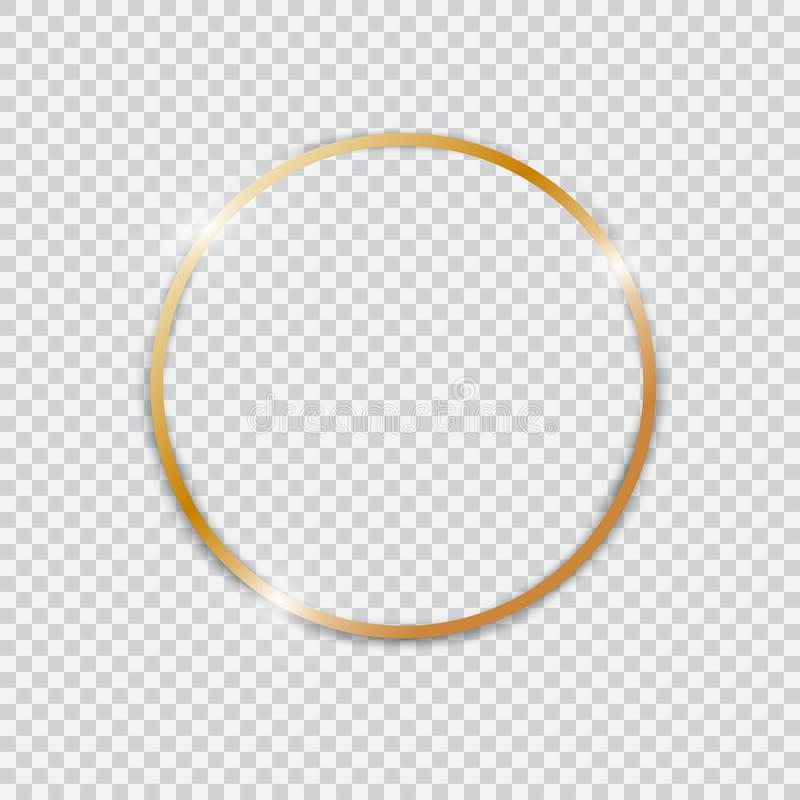 Gold shiny glowing vintage round frame. royalty free stock images