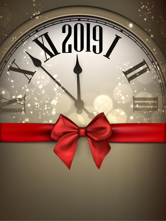 Gold 2019 New Year background with clock and red ribbon. vector illustration