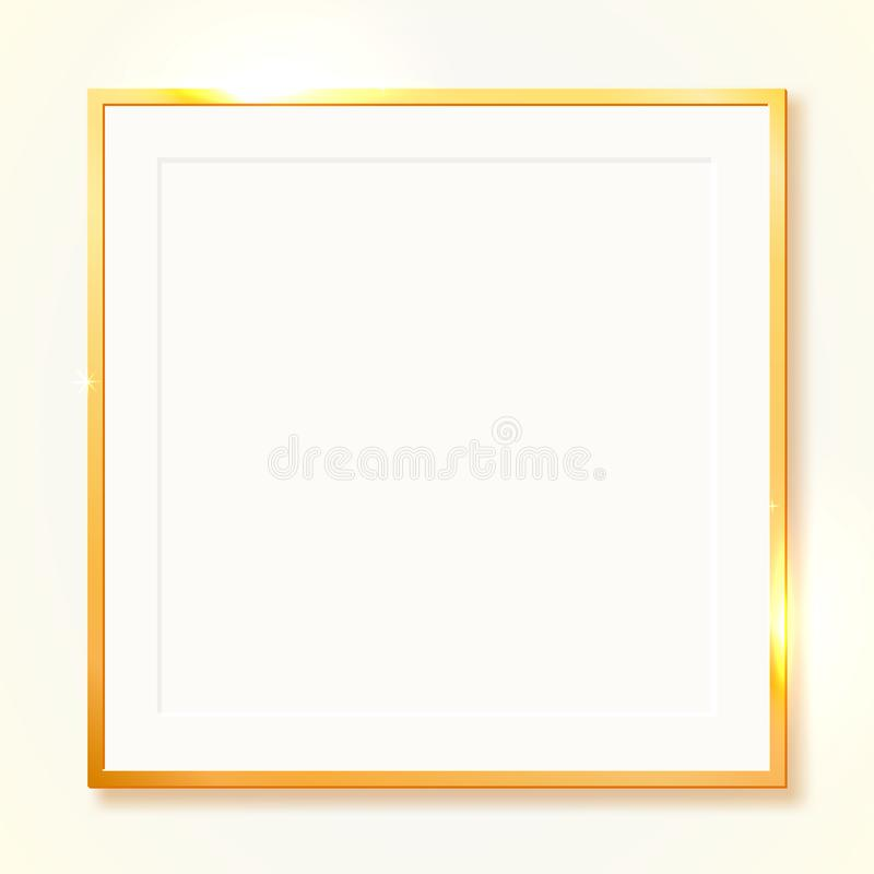 Gold shiny vintage border isolated on transparent background. Golden luxury realistic rectangle frame. stock illustration