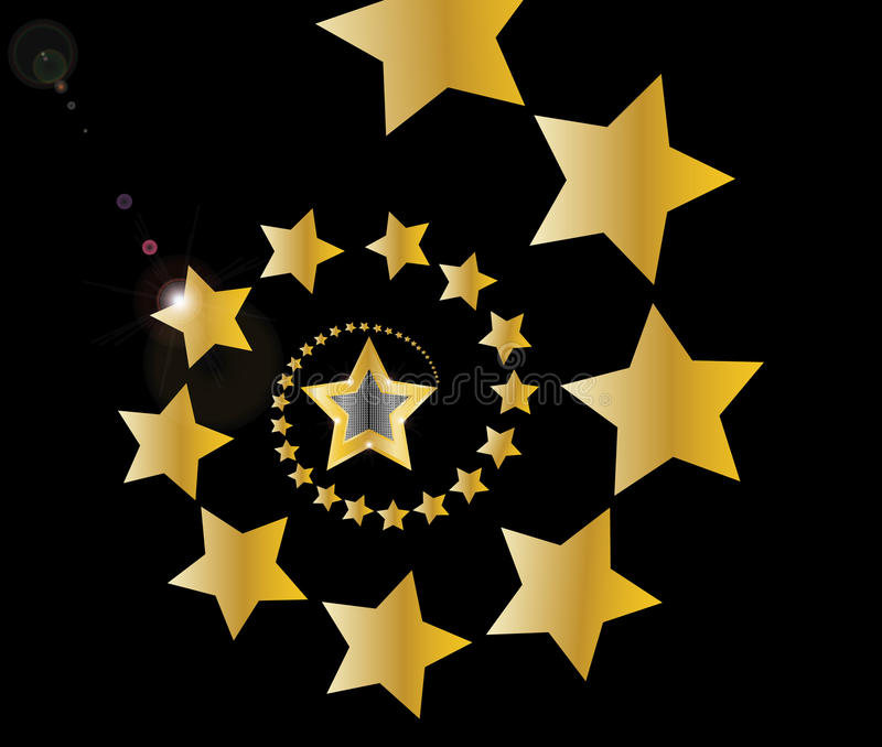 Gold Shooting Stars In Spiral On Black Background Stock Images
