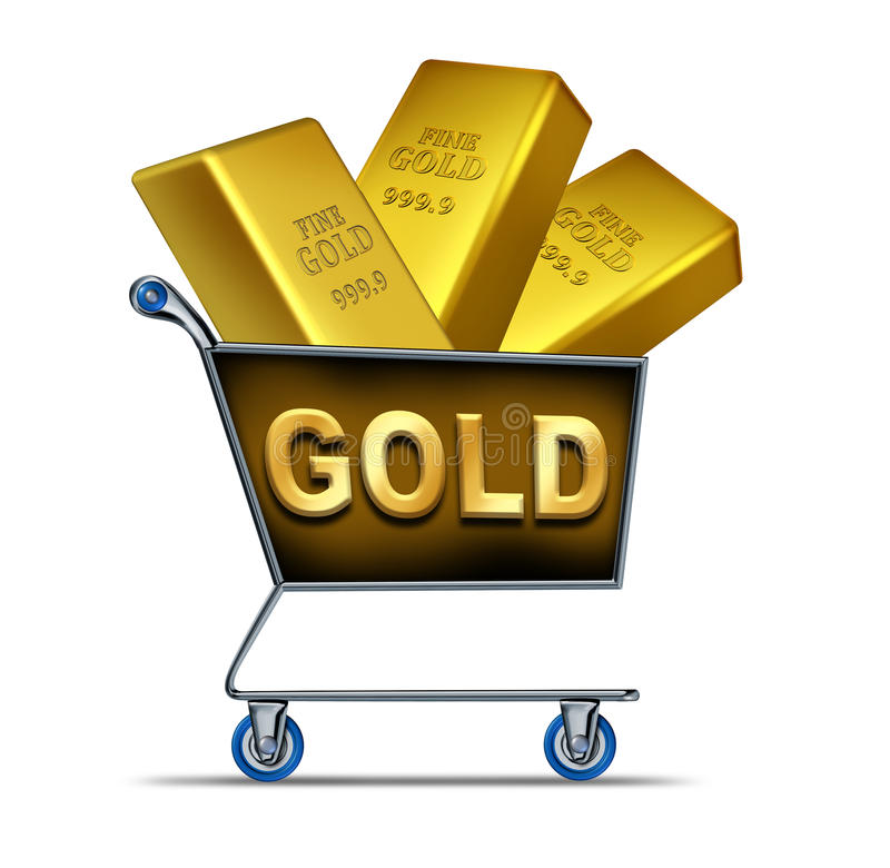 Download Gold shopping stock illustration. Image of symbol, cart - 20875185