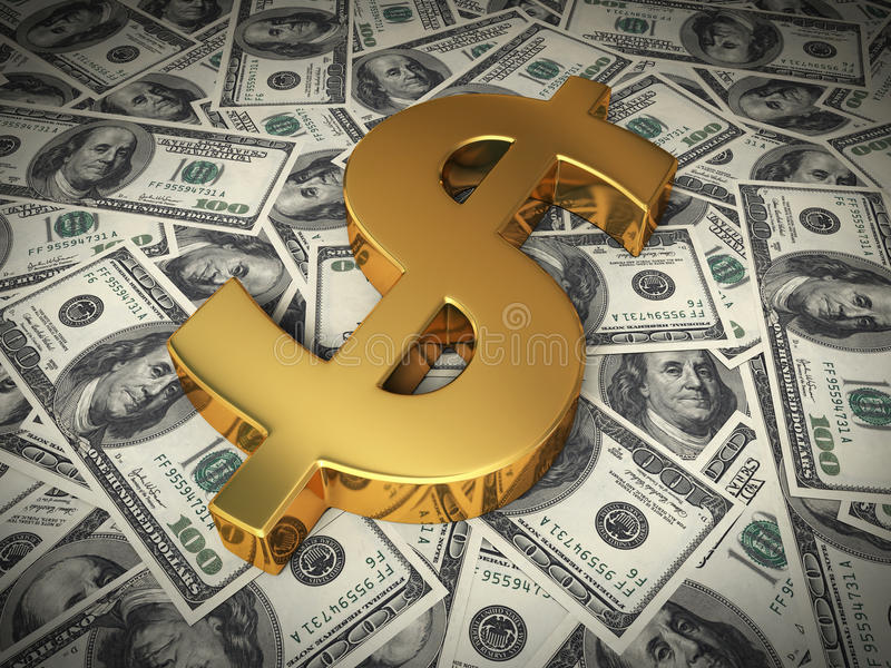 Gold sign on a hundred dollars bill stock photography