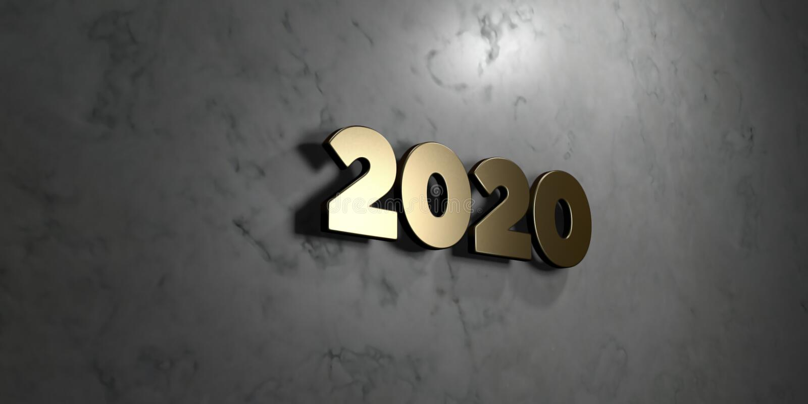 2020 - Gold sign mounted on glossy marble wall - 3D rendered royalty free stock illustration vector illustration