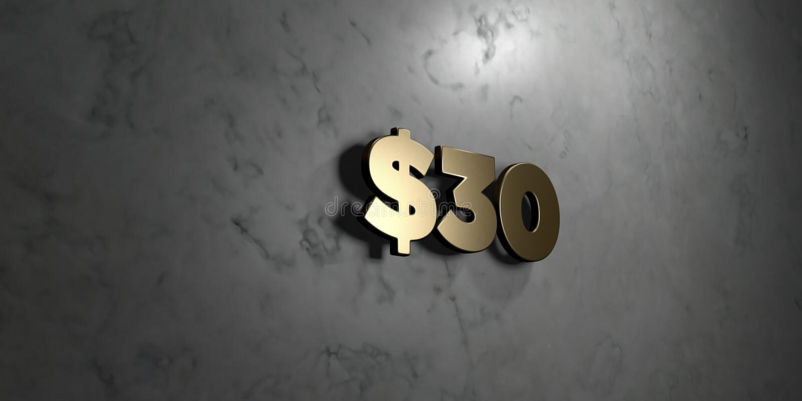 $30 - Gold sign mounted on glossy marble wall - 3D rendered royalty free stock illustration stock illustration