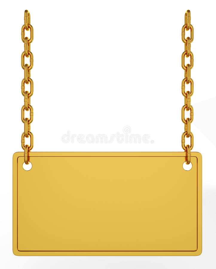 Gold signboard. 3d illustration of gold signboard isolated on white background vector illustration