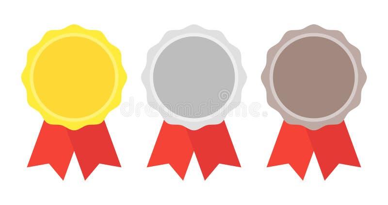 Gold, Silber, Bronzemedaille 1., 2. und 3. Plätze Trophäe mit rotem Farbband Flache Artvektorillustration vektor abbildung