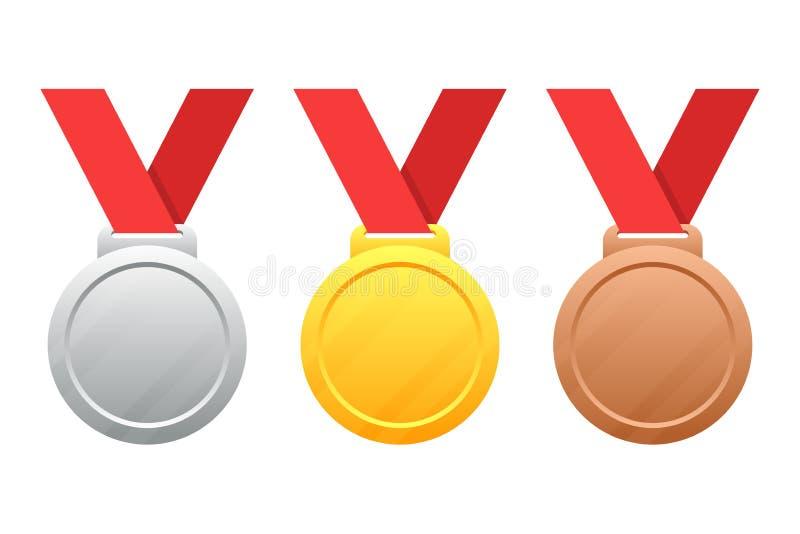 Gold, Silber, Bronzemedaillen vector Illustration auf Weiß lizenzfreie abbildung