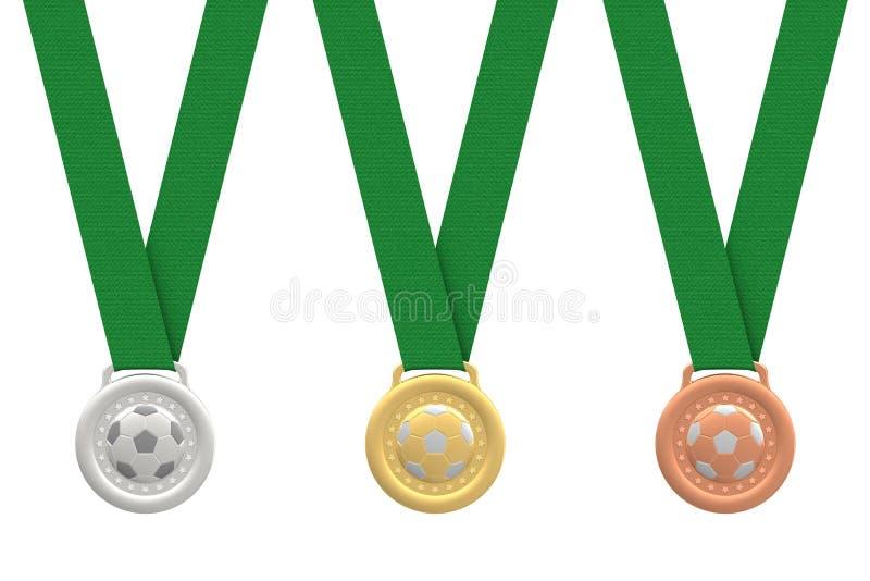 Gold-, Silber- und Bronzenfußballmedaillen stockbild
