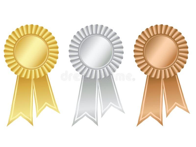 Gold-, Silber- und Bronzenrosetten lizenzfreie abbildung