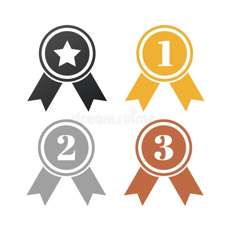 Gold-, Silber- und Bronzesiegerausweise Sprechen Sie Farbb?nder zu Zuerst an zweiter Stelle dritter Platz und Ausweis mit Stern V vektor abbildung