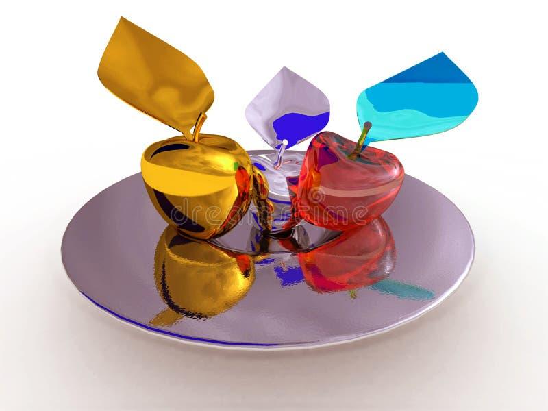 Gold-, Silber- und Glasäpfel auf einer silbernen Platte stockfotos