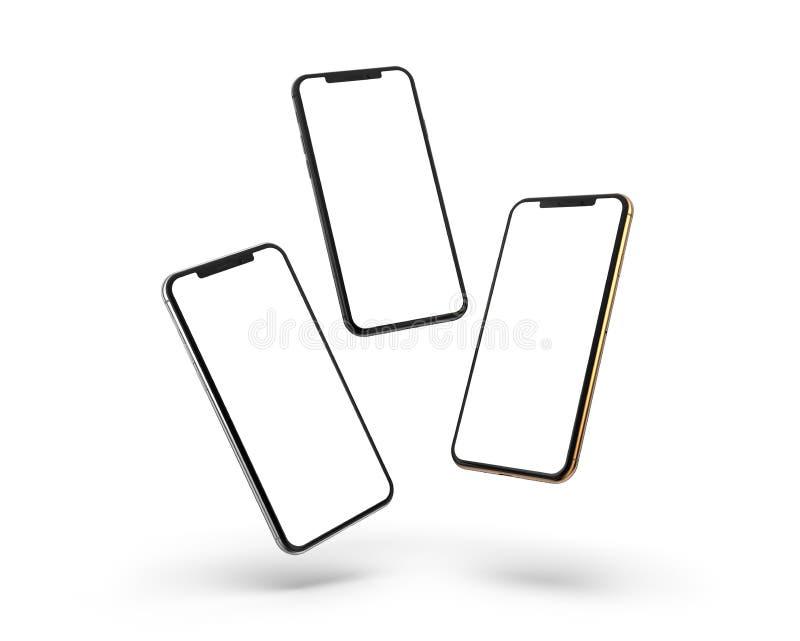 Gold, Silber und schwarze Smartphones mit dem leeren Bildschirm, lokalisiert auf weißem Hintergrund stockbilder
