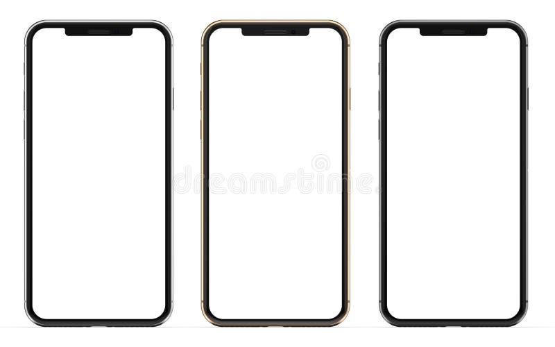 Gold, Silber und schwarze Smartphones mit dem leeren Bildschirm, lokalisiert auf weißem Hintergrund stockfoto