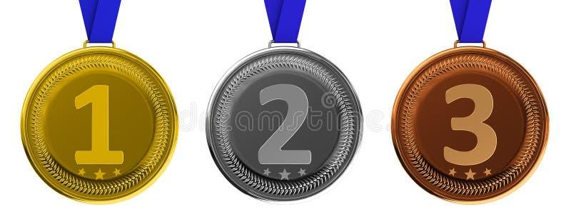 Gold-, silberne und Bronzemedaillen stock abbildung