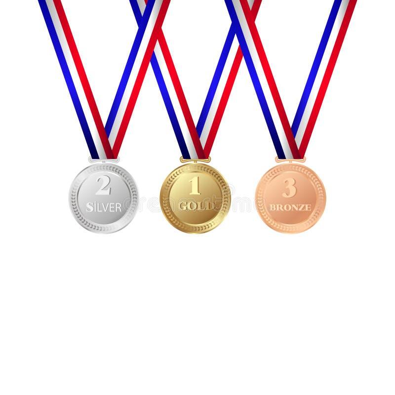 Gold-, silberne und Bronzemedaillen lokalisiert auf weißem Hintergrund Trophäenikone lizenzfreie abbildung