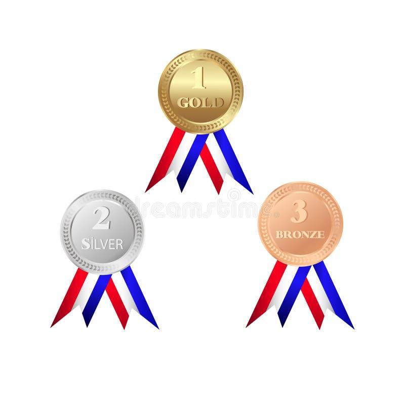 Gold-, silberne und Bronzemedaillen lokalisiert auf weißem Hintergrund Trophäenikone stock abbildung